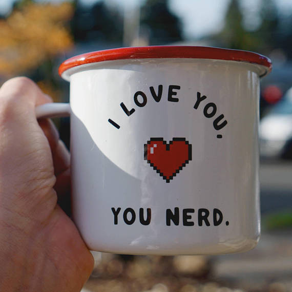 Love You, you Nerd - Pixel Heart Mug - Nerd Love Mug