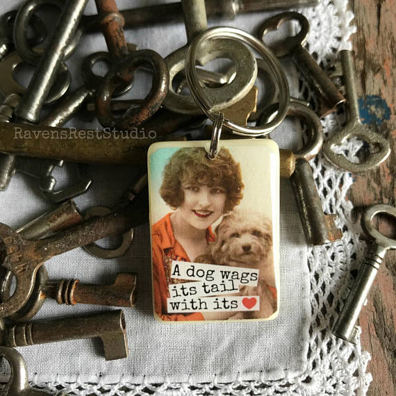 """A Dog Wags Its Tail With Its 💗""  Rummikub Vintage Photo Handmade Recycled Game Piece Keychain"