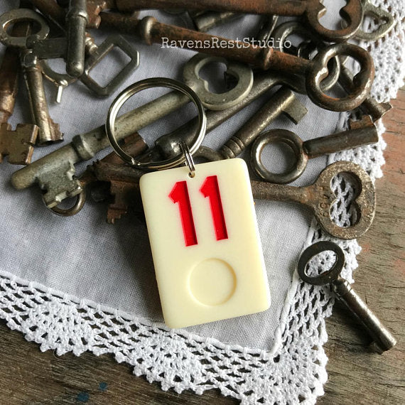 """Vintage Bumble Bee""  Rummikub Vintage Photo Handmade Recycled Game Piece Keychain"