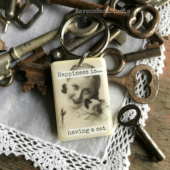 """Happiness Is... Having A Cat"" Rummikub Vintage Photo Handmade Recycled Game Piece Keychain"