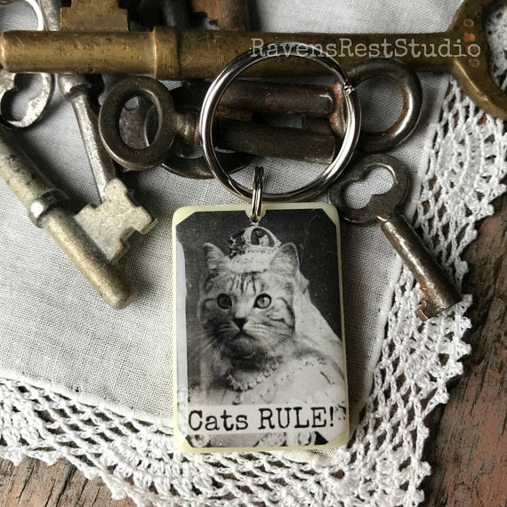 """Cats Rule""  Rummikub Vintage Photo Handmade Recycled Game Piece Keychain"
