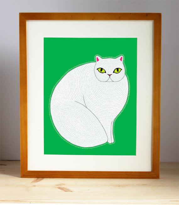 Persian Cat Illustration By Stacie Bloomfield