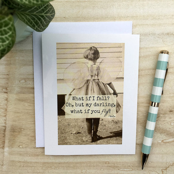 """What if I Fall? Oh, But my Darling, What if you Fly?"" Vintage Photo Greeting Card"