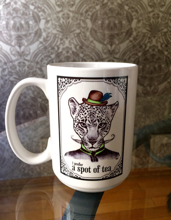 I Prefer A Spot Of Tea Dapper Leopard Coffee Mug