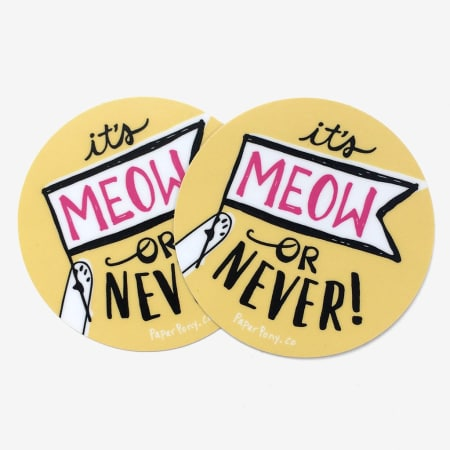 It's Meow or Never Sticker | Set of 2