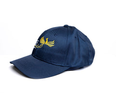 RISE-HAI EMBROIDERED LOGO STRUCTURED TWILL CAP NAVY