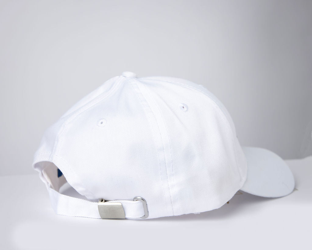 RISE-HAI EMBROIDERED LOGO SIX PANEL CAP WHITE
