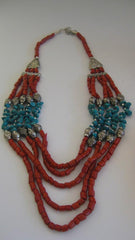 Jewelry, Coral & Turquoise color beaded necklace