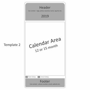 Large Print Rectangle Calendar Magnet 94mm x 196mm - Clever Calendar Magnets