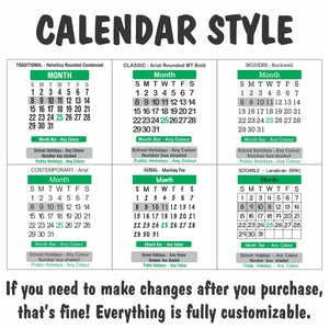 Large Print Rectangle Calendar Magnet 140mm x 196mm - Clever Calendar Magnets