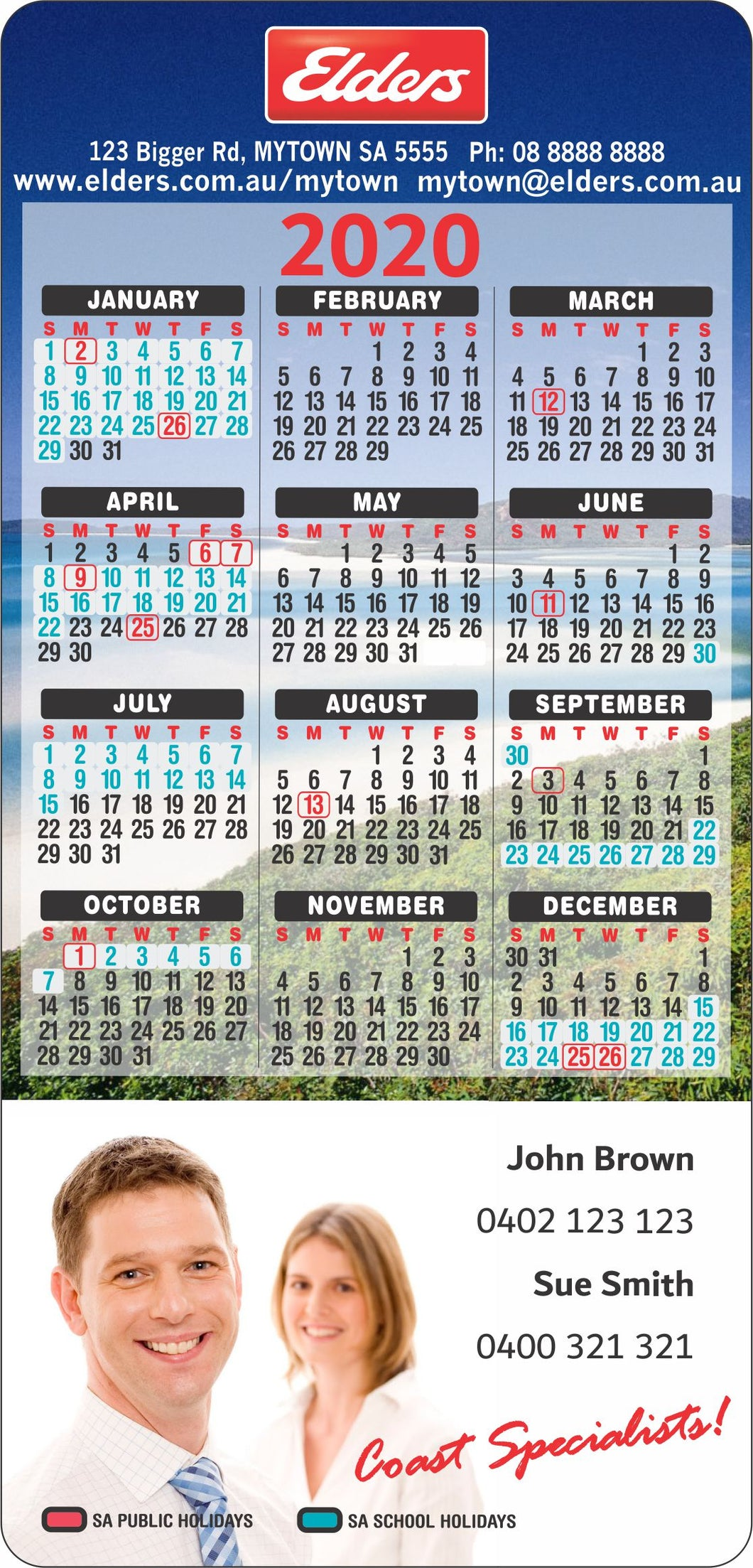 Rectangle Calendar Magnet 94mm x 196mm - Clever Calendar Magnets