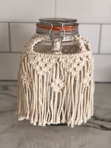 Large Macrame Storage Jar