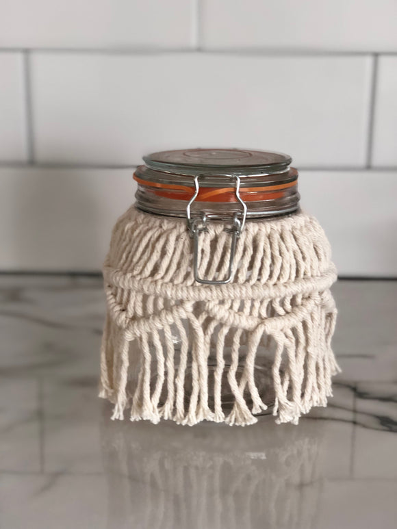 Small Macrame Storage Jar