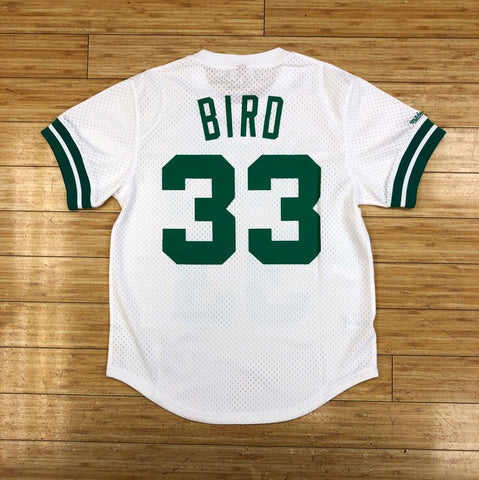 MITCHELL & NESS- LARRY BIRD NAME & NUMBER MESH CREWNECK BOSTON CELTICS