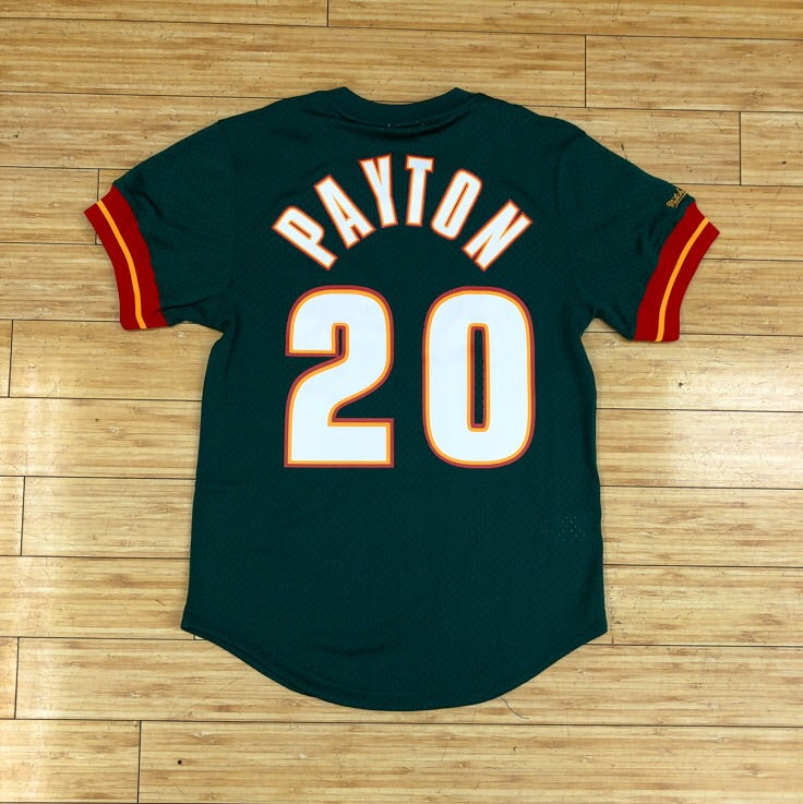 MITCHELL & NESS- GARY PAYTON NAME & NUMBER MESH CREWNECK SEATTLE SUPERSONICS