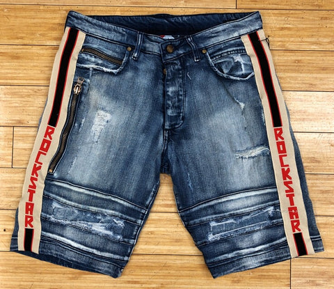 Rockstar- blue steven denim shorts (light)