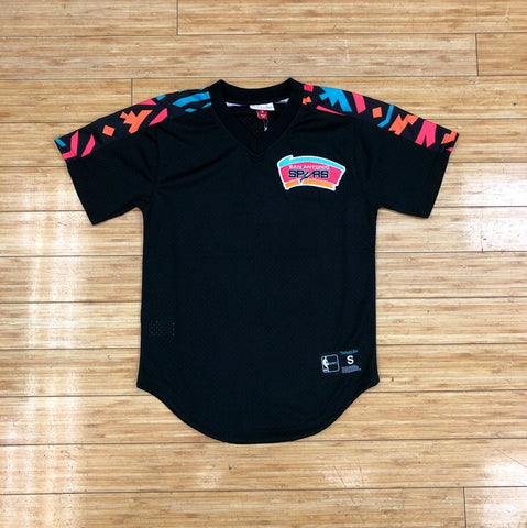 MITCHELL&NESS - BLACK  WINNING TEAM MESH V-NECK SAN ANTONIO JERSEY
