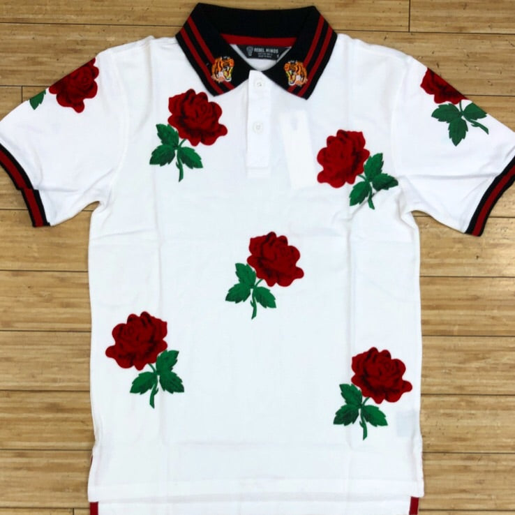 Rebel minds-flocking print rose polo ss tee