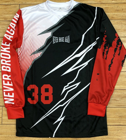 Never broke again- torn moto jersey
