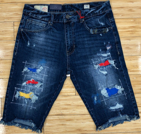 Smoke rise- stitched colored patches denim shorts