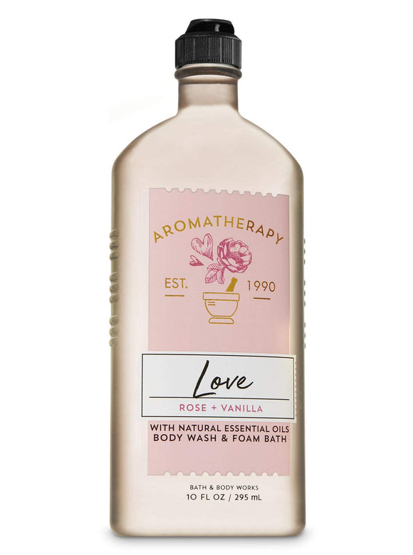 Bath and Body Works - Aromatherapy LOVE - ROSE + VANILLA Body Wash and Foam Bath