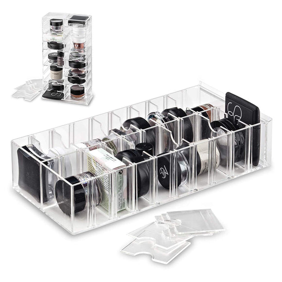 Acrylic Makeup Stand Organizer - with Removable Dividers | 20 Space Storage Designed To Stand & Lay Flat
