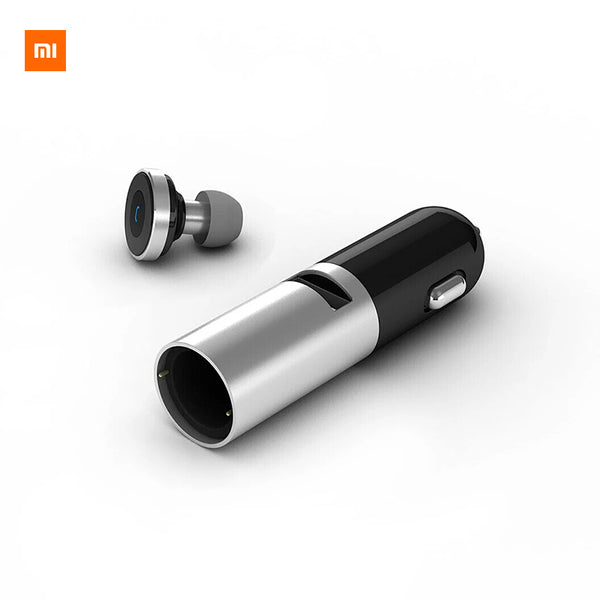 Xiaomi CooWoo Aluminium Alloy Wireless Bluetooth 4.0 Earphone Handfree Call Headset and Car Charger 2 In 1 For Android IOS Phone