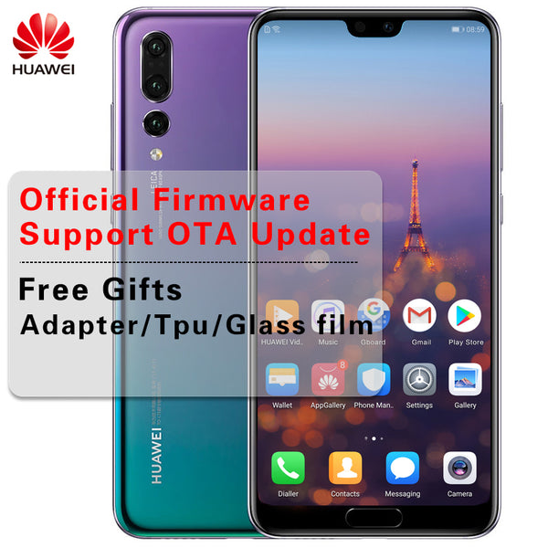 Stock 6.1'' Huawei P20 Pro AI Smartphone IP67 Waterproof 40.0MP Triple Rear Cameras Full View Screen NFC Android 8.1 Twilight