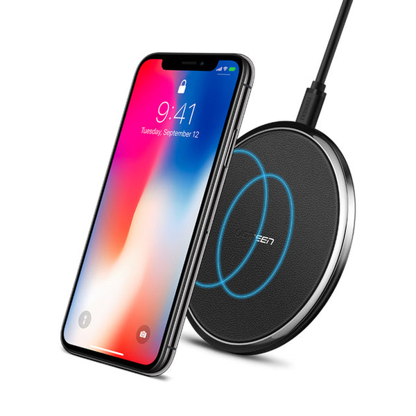 Ugreen Leather Wireless Charger for Samsung Galaxy S8 S9 S7 USB Qi Wireless Charger for iPhone 8 X 8 Plus Wireless Charging Pad