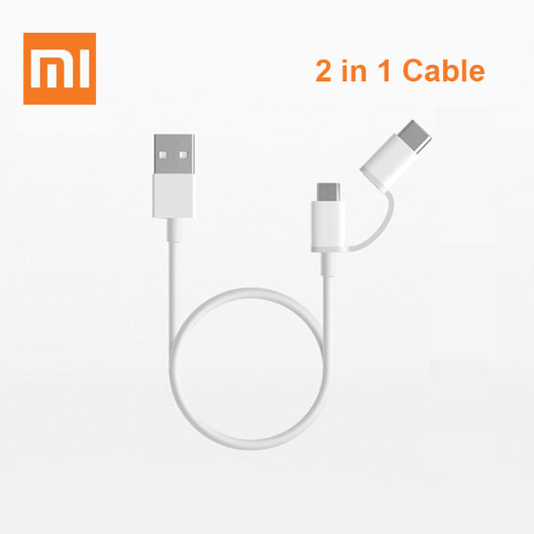 Original Xiaomi 2 in 1 Micro USB Type-c Cable Sync Fast Quick Charger Data Type C Charging Cable For M6 Huawei Samsung Asus LG