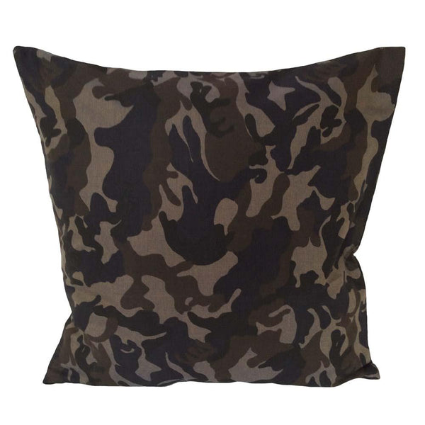 Cotton Canvas Camo Camouflage Pattern 18 X18 Pillow Cover Army Green Beige Pillowerus