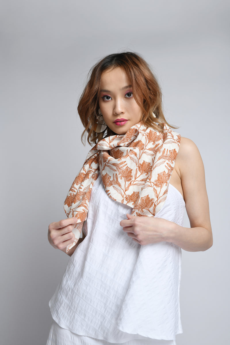 Silk Scarf in Cinnamon Biro Print