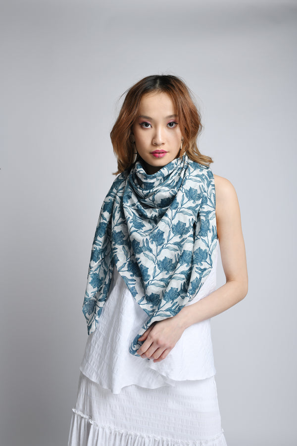 Silk Cotton Scarf in Petrol Blue Biro Print