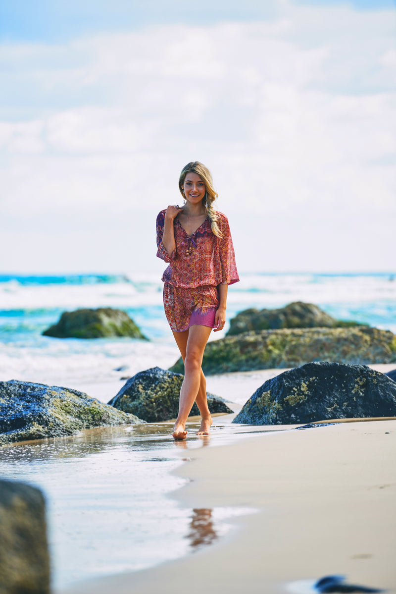 Beachlyd Beach Cover up in Pink Mosaic