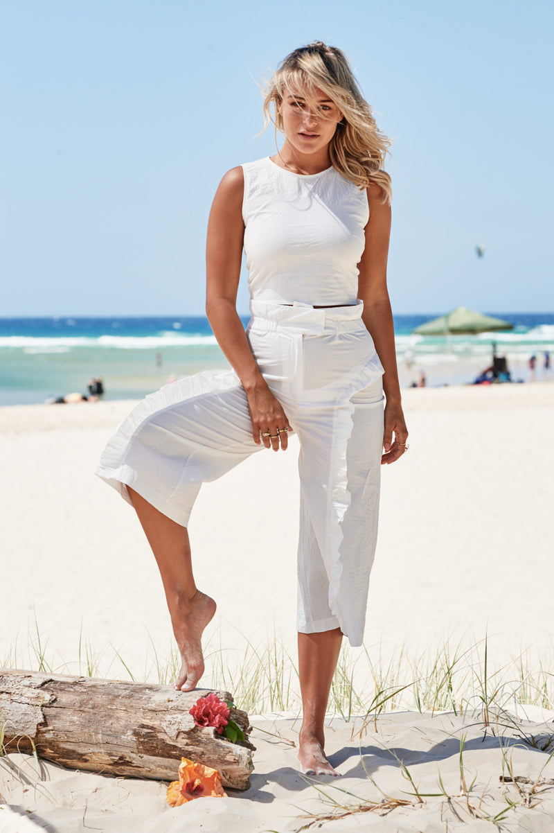 Culotte Frill Trousers in White