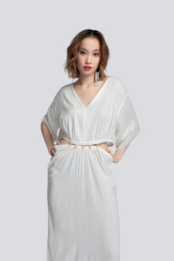Kaftan with Cutout Waist in White Cotton