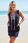 Akosee Navy Blue Linen Cotton Lace Up Hooded Dress