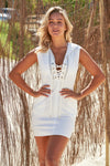 Akosee White Poly Cotton Lace Up Hooded Dress