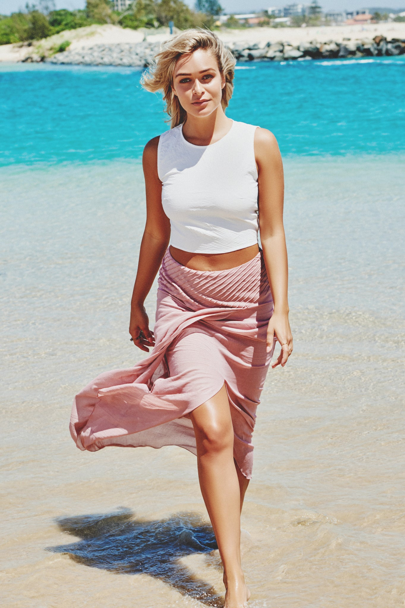 Bondi Maxi Skirt in Dusky Pink
