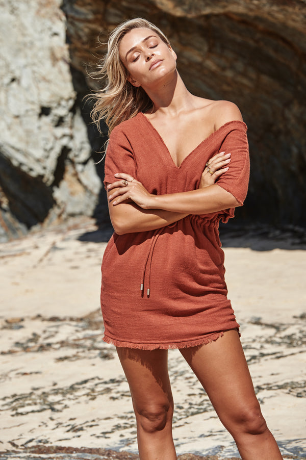 Akosee Rust Red Beach Cover-up Kaftan Dress