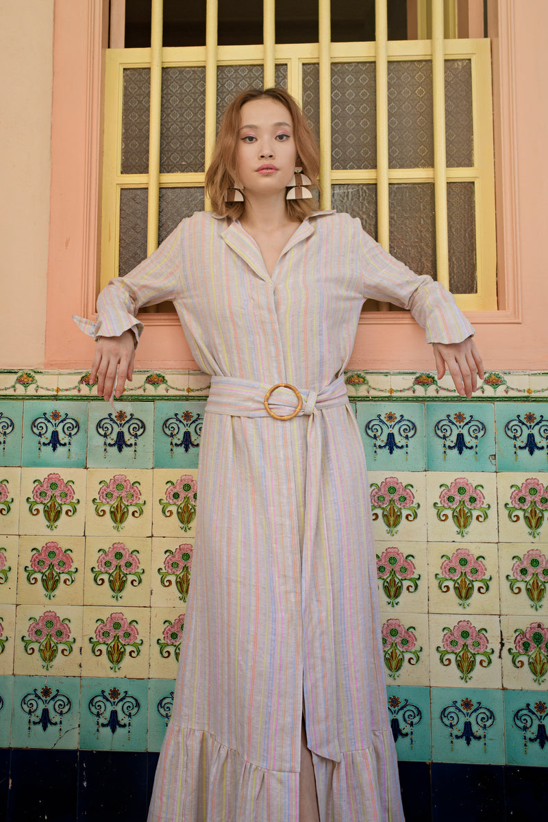 Long Shirt Dress in Stripes Linen