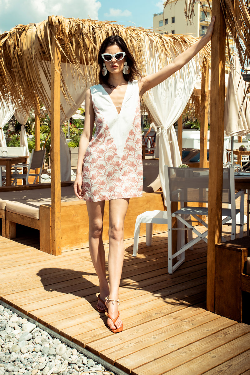V-Neck Two Tone Short Beach Dress in Canyon Rose