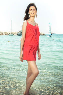 Ludus Beach Dress in Pink Red