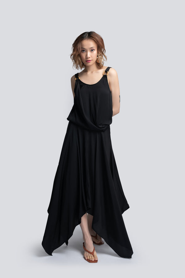 Handkerchief Midi Dress in Black