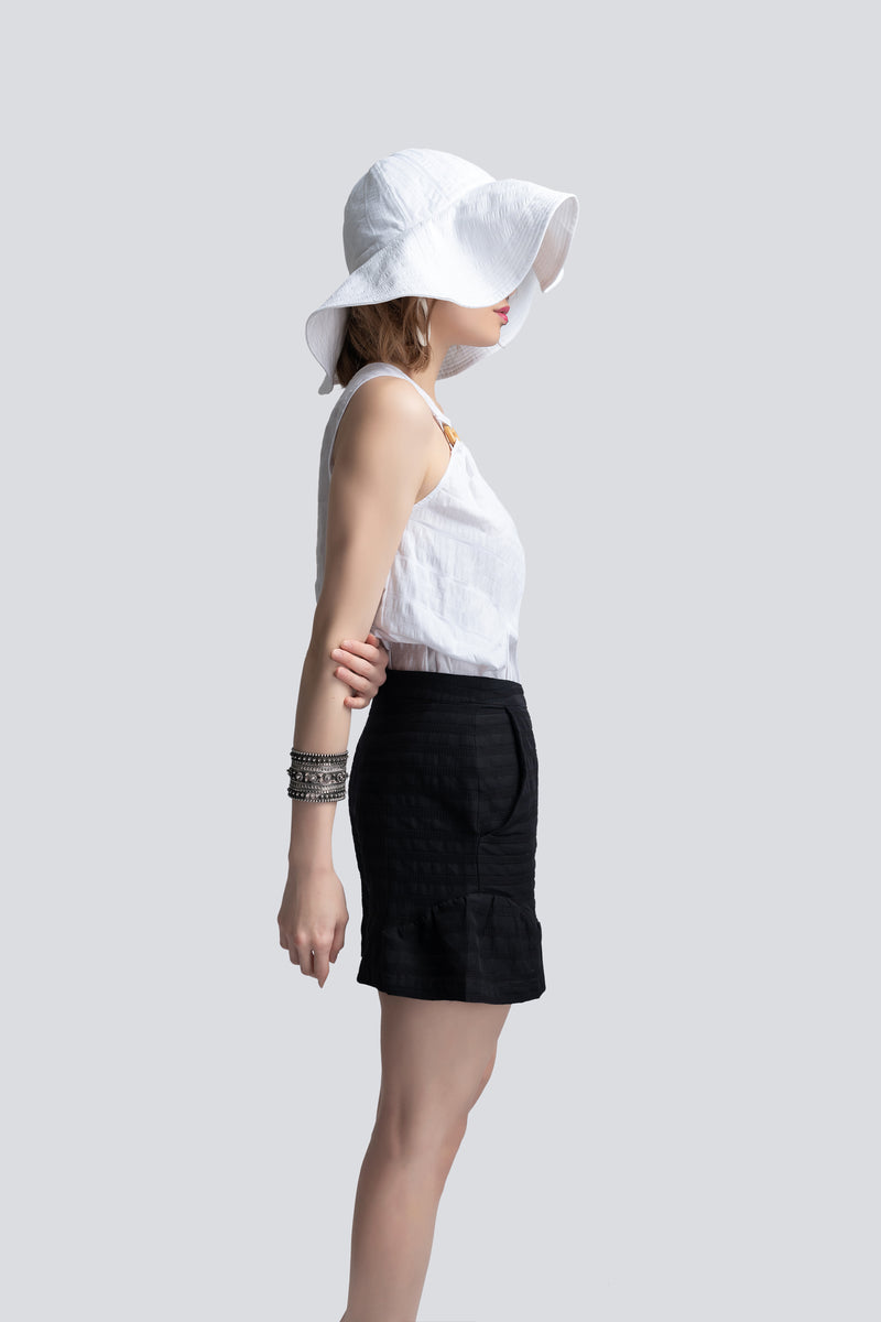 Flared Shorts in Black Cotton