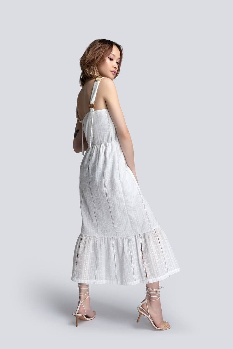 Tiered Sundress in White Broderie Cotton