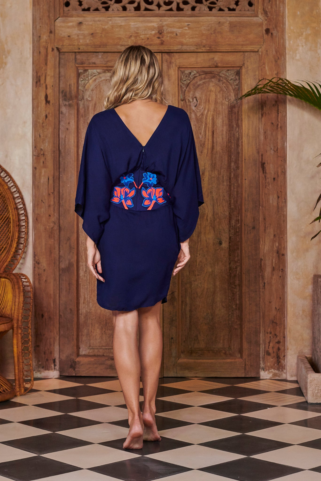 Goddess Navy Blue Embroidered Kimono Dress