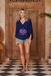 Goddess Navy Blue Embroidered Kimono Top
