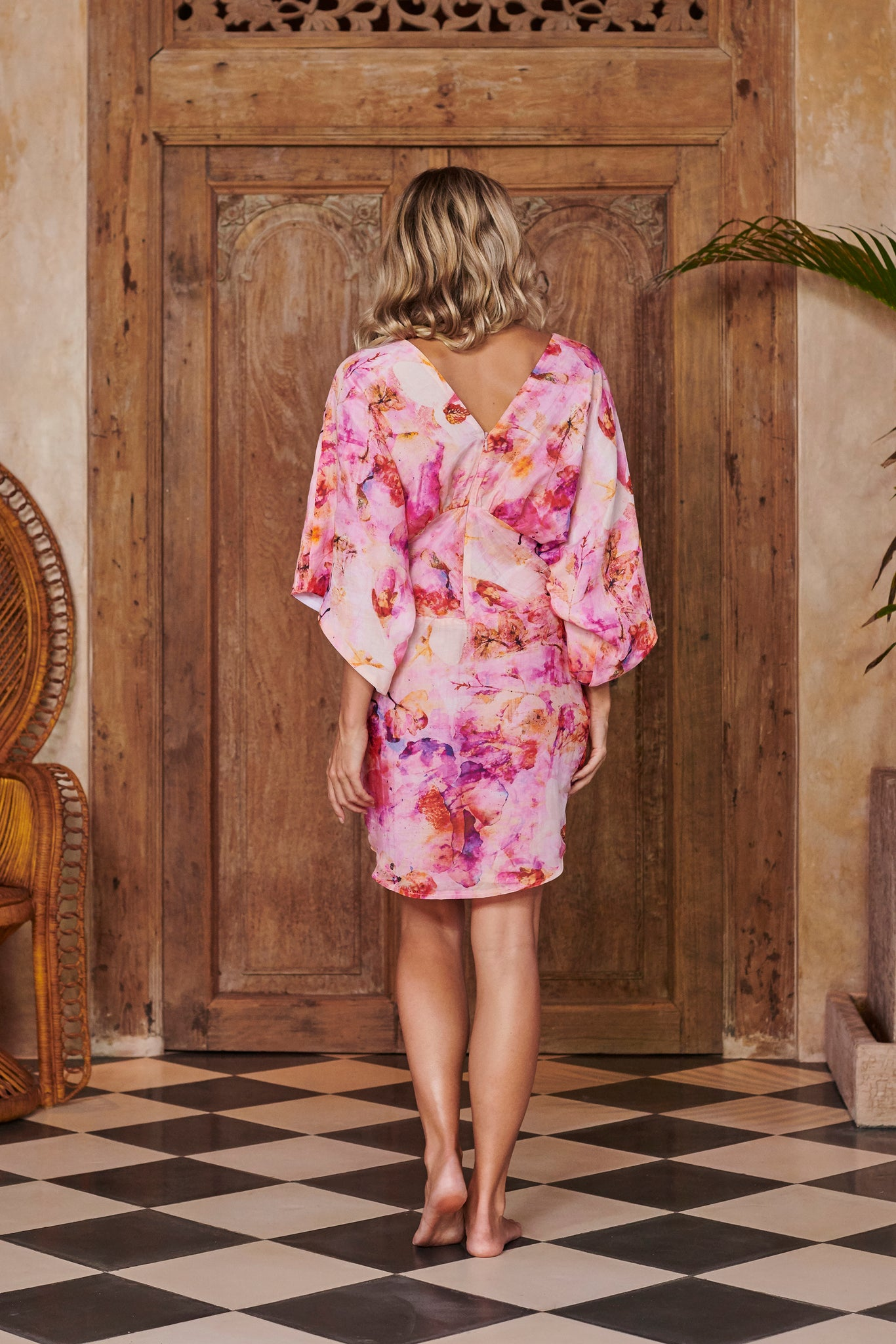 Goddess Pink Printed Silk Kimono Dress