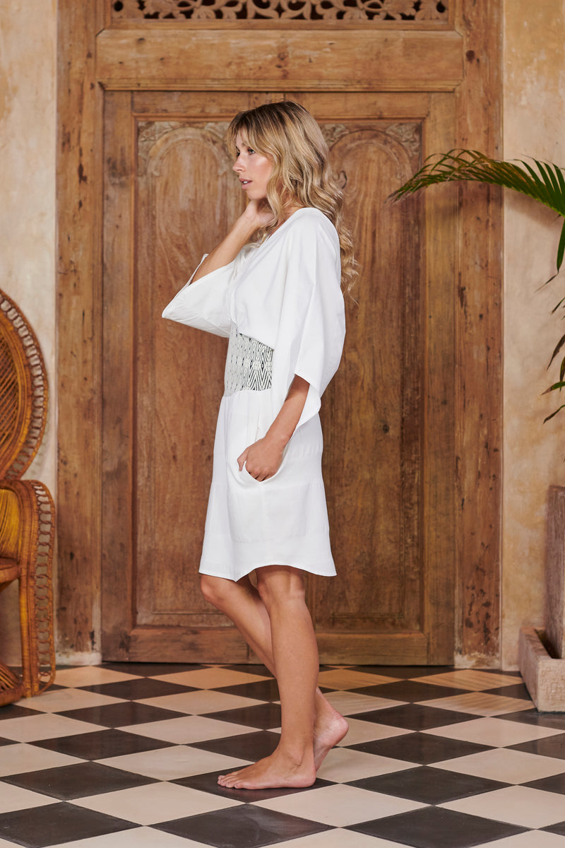 Goddess Dress in White Cotton
